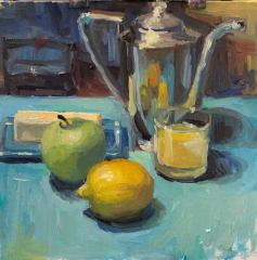 "Virginia Bilodeau, ""Butter and Silver"", Oil, 8x8, $200"