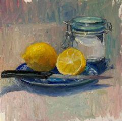 "Virginia Bilodeau, ""Lemons and Sugar"", Oil, 8x8, $200"