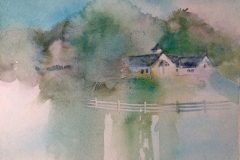"""Kay Brigante, """"House on the Hill"""", watercolor, , $300"""