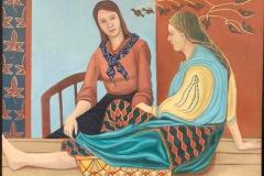"Jill Butcher, ""Friends"", Acrylic on canvas, 25x31.5, $1,500"
