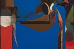 "William Butcher, ""The Blue Table"", acryli/foam board on canvas, 30x72, $4,500"