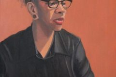 "Diane Chandler, ""Jodi (Orange and Black)"", oil, 24x18, $700"
