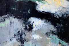 """Kathleen DeMeo, """"Snowmelt"""", Oil and cold wax, 20x16, $400"""