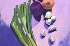 "Marianne Holtermann, ""Onions"", Pastel, 14x11, $350"