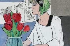 """Pat Kelbaugh, """"Girl with Emerald Hair"""", India ink and watercolor, 16x20, $325"""