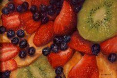 """Henie Kurzman, """"Nancy's Fruit"""", Pastel, 8.5x11.5, $500"""