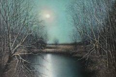 "Stephen Linde, ""Moonlit Marsh"", Pastel, 18.75x16, $1,400"