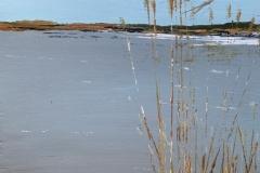 "Edwin Lopez, ""Reeds"", mixed on wood, 11x14, $450"