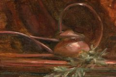 """Alicia Melluzzo, """"Copper Watering Can"""", oil, 4x6, $650"""