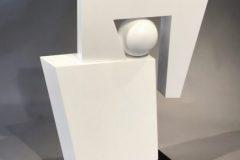 "Robert Meyer, ""2 Forms w/Sphere no.10"", Powder Coated Steel, Aluminum, 25x21x7, $6,500"