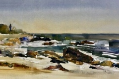 """Lisa Miceli, """"South Beach, Fisher's Island"""", Watercolor on paper, 9x21, $600"""