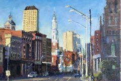 """Thomas Moukawsher, """"Main Street Hartford"""", Oil on Canvas, 14x18, $1,250"""