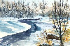 "Richard Raicik, ""Still Winter"", watercolor, 20x23, $550"