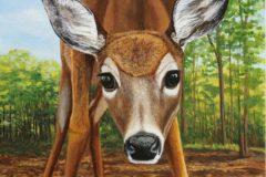 """J Elaine Senack, """"Cautiously Curious"""", acrylic on aluminum, 14x11, $820"""