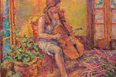 "Leif Nilsson, ""Cellist"", oil, 36x30, $15,000"