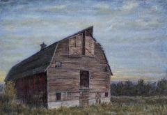 """Alexander Anisimov, """"Barn's Sunset"""", oil, 33x42, $1,725"""