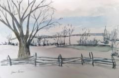 "Joan Carew, ""Winter's Gift"", watercolor, 8x10, $200"