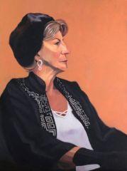 "Diane Chandler, ""Gail (Orange & Black)"", oil, 24x18, $700"