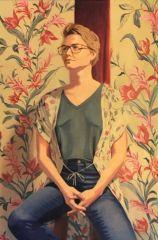 "Diane Chandler, ""Gretchen with Flowers"", oil, 24x16, $650"