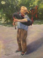 """Patricia Corbett, """"The Bagpiper"""", oil, 20x16, $2,500"""