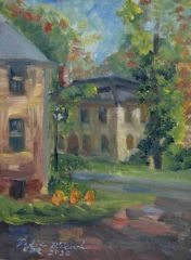 """Dodie D'Oench, """"Fall View Across from Comstock. Wetherfield., CT 2020"""", oil, 9x7, $200"""