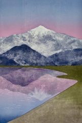 "Kathleen DeMeo, ""Rosy Reflection"", monotype/mixed media, 33x25, $1,100"