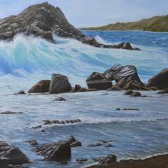 """Linda Boisvert-DeStefanis, """"Oceanside Beauty, oil, 30x30, $2,900"""