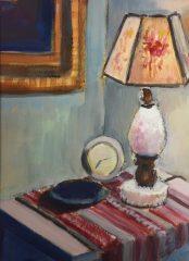 "Liz Egan, ""The End Table"", acrylic, 18x14, $250"