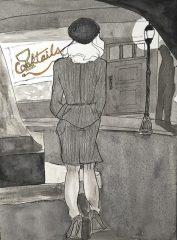 """Pat Kelbaugh, """"Noir Avenue"""", ink and watercolor, 20x16, $375"""