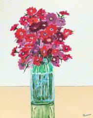 """Pat Kelbaugh, """"Zinnias"""", acrylic, 20x16, $475"""