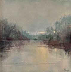 """Deborah Kotchen, """"Misty"""", oil, 25x25, $1,800"""