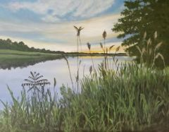 "Lois Lawrence, ""Quanaduck Cove V"", acrylic, 18x22, $900"