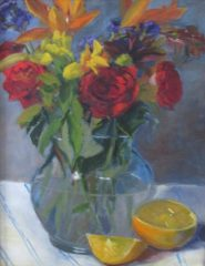 """Suzanne Lewis, """"Vase of Roses"""", oil, 14x11', $325"""