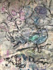"Catherine Mansell, ""Bird in Snowfall"", mixed media/encaustic, 15x12, $340"