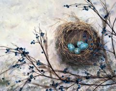 """Liz McGee, """"Speckled Eggs"""", watercolor, 11x14, $1,600"""