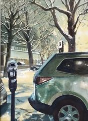 """Joan McPherson, """"Snowy Evening, New Haven"""", watercolor, 20x17, $450"""