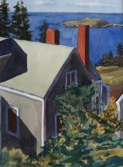 """Joan McPherson, """"View from Room 2, Seagull Cottage, The Trailing Yew, Monhegan Island"""", watercolor, 21x17, $400"""