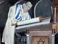 """Michael Mendel, """"Yom Kippur Service"""", watercolor, 17x21, $600"""