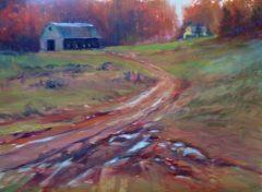"Judith Meyers, ""Mud Season"", oil on aluminum, 12x16, $500"