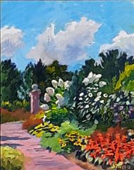"Daniel Nichols, ""Irish Garden, Wickham Park'"", oil, 15x19, $300"