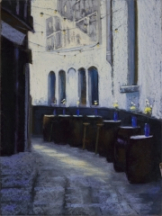 "Jane Penfield, ""Alley Cafe"", pastel, 16x12, $750"