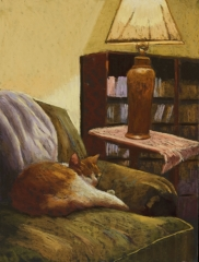 "Jane Penfield, ""Cat Nap"", pastel, 16x12, $750"