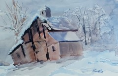 "Richard Raicik, ""Still Standing"", watercolor, 16x24, $675"