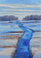 "Diana Rogers, ""New Snowfall, Early Evening Light"", pastel, 11x15, $550"