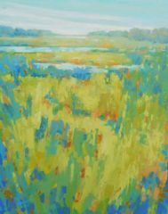 "Diana Rogers, ""Spring Greens in the Marsh"", pastel, 15x11, $525"