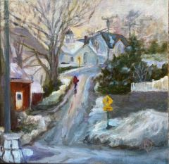"Barbara Rossitto, ""The Long Hill Home"", oil, 12x12, $450"