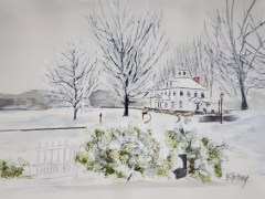 "Kathleen Tracy, ""First Snowfall"", watercolor, 17x21, $350"