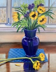 "Lorraine Yurkewicz, ""Yellow and Blue"", oil, 14x18, $850"