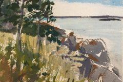 "Liz Egan, ""The Path"", gouache, 20x16, $300"