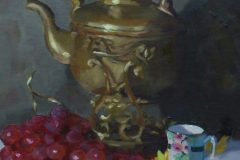 "Ellen Hurley, ""Grapes and Samovar"", oil on linen, 16x12, $600"